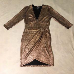 Leith rose gold metallic snakeskin mini dress